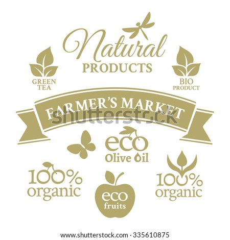 Collection badges in retro style for farmers market with ecologically pure farm product - stock vector
