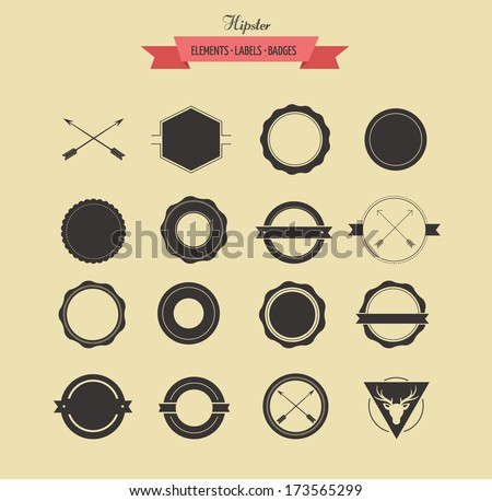 Collection badgets and labels, vector retro vintage design - stock vector
