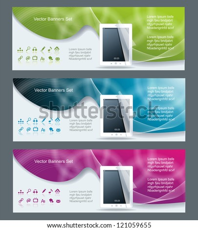 Collection banner design tablet pc computer - stock vector