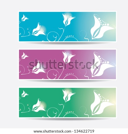 Collection banners floral design, colorful summer or spring background. vector flower background.