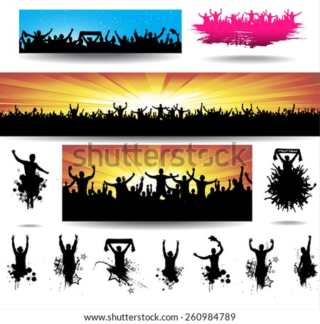 Collection banners for sporting events and concerts - stock vector