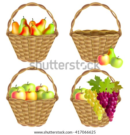 Collection baskets of fruit: pears, apples and grapes and an empty wicker basket. Isolated on white background.