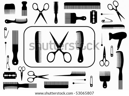 collection beauty hair salon or barber accessories - stock vector
