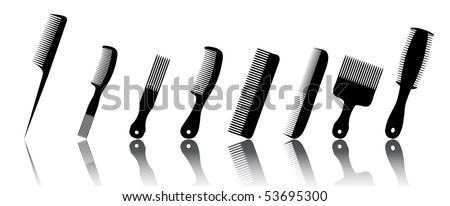collection beauty hair salon or barber comb vector illustration - stock vector