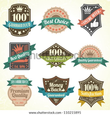 Collection Best Quality and Guarantee Labels, vintage design, vector illustration - stock vector