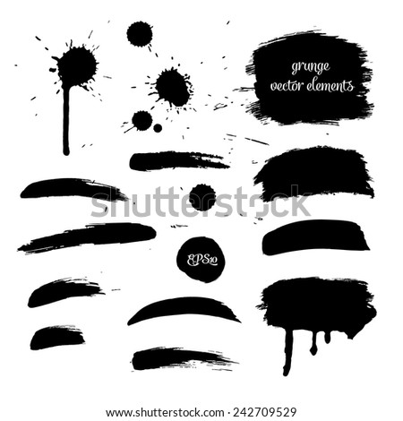 Collection black grunge watercolor element for design - stock vector
