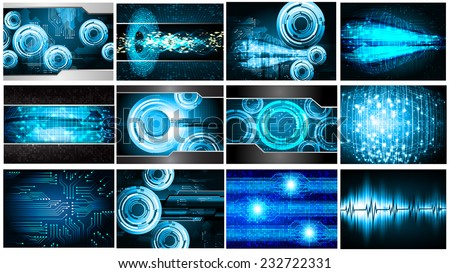 Collection blue Light Abstract Technology background set for computer graphic website internet and business. text box. Brochure. card. wave. diverse, different, divers, manifold, many, various - stock vector