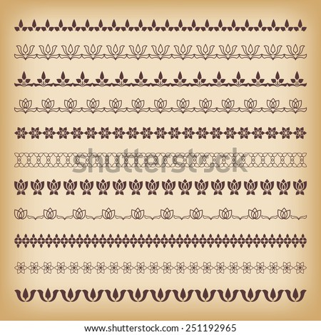 Collection borders for decor. Vector illustration.