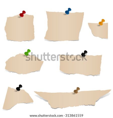 Collection - brown scraps of paper with pin - stock vector