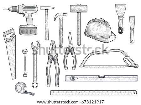 Collection Building Repair Tools Illustration Drawing