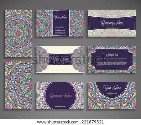 Collection Business card or invitation. Vector background. Vintage decorative elements. Hand drawn background. - stock vector