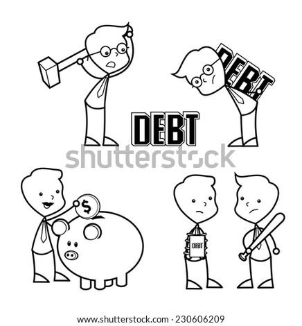 collection businessman set debt vector - stock vector