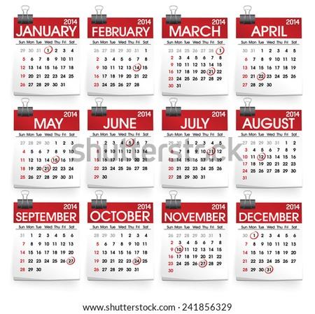 Collection 2014 Calendars - stock vector