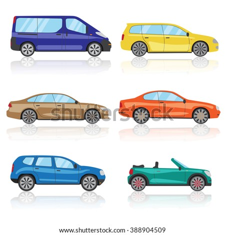Collection cars icons set. 6 different colorful 3d sports car icon. Car vector EPS 10 - stock vector