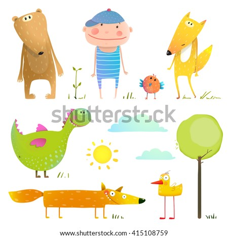 Collection cartoon animals and child for kids . Collection animal and child. Cute cartoon character bear duck fox and dragon. Vector illustration