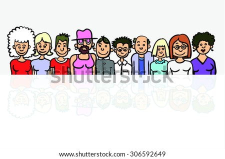Collection Cartoon People - stock vector