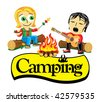 Collection cartoon personage. Camping. Sweetheart. - stock vector