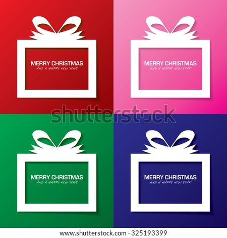 Collection christmas gift boxes with a holiday message - stock vector
