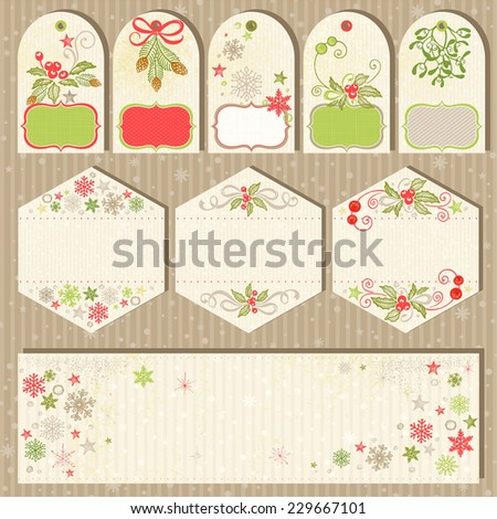 Collection Christmas labels in vintage style with holiday hand-drawn symbols. - stock vector
