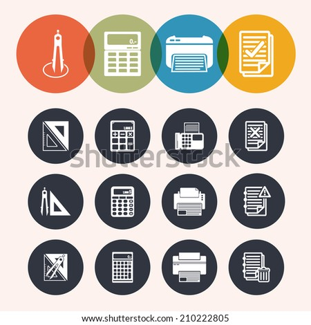 collection Circle Series icons ,Measurement Instrument, notepad, print, Calculator