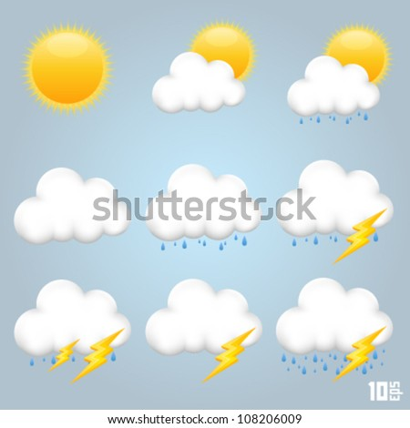 Collection clouds icon, cloud and sun, weather phenomenon, template design element, Vector illustration - stock vector
