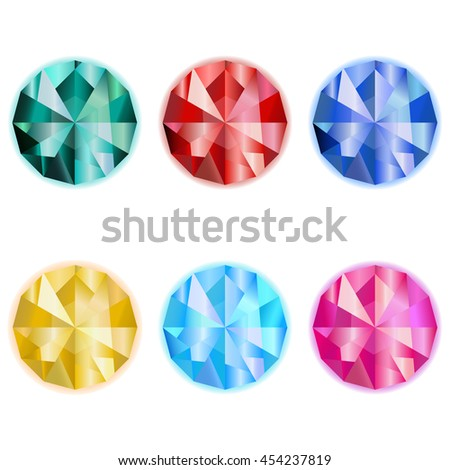 collection colorful jewelry/ gem vector/ emerald/ ruby/ sapphire/ topaz/ game icon on a white background  - stock vector