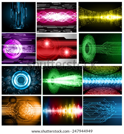 Collection colorful Light Abstract Technology background set for computer graphic website internet and business. text box. Brochure. card. wave. diverse,  - stock vector