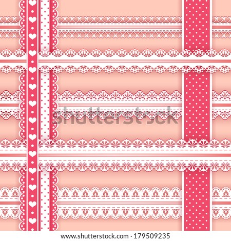 Collection design elements for scrapbook. Borders. Vector illustration. - stock vector