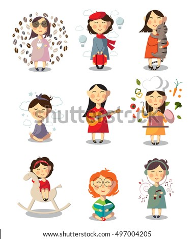 Collection different character cartoon girls. Set of health lifestyle girls. Isolated vector illustration.
