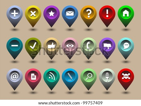 Collection different web icons in the form of GPS icons - stock vector