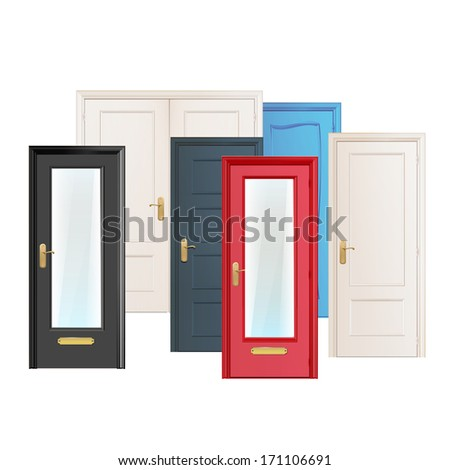 Collection doors isolated on white. Vector design.  - stock vector