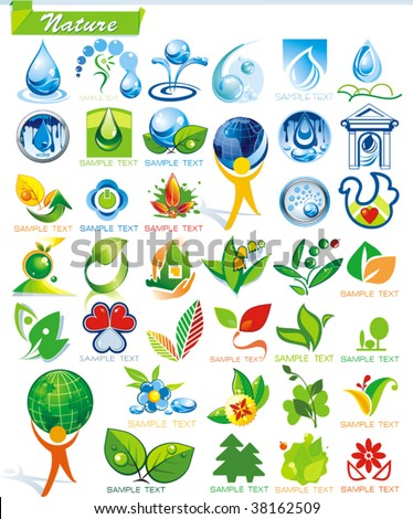 COLLECTION_2   Ecology and botanic Icon Set for design use, vector illustration. Series symbols for Web. A set of abstract color element corporate templates. Just place your own company name. - stock vector