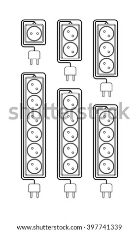 Collection electrical extension cords in a modern linear style. Electric surge protector icon, electric extension cable icon, electrical plug and electrical outlet. Schematic image. Vector - stock vector