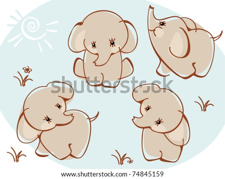 collection elephants. Similar to portfolio - stock vector