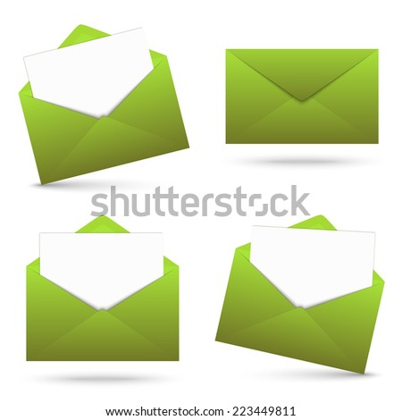 Collection - envelope with note - stock vector