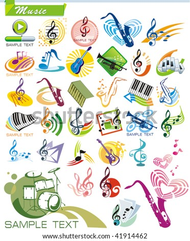 COLLECTION_9 Exclusive Series of Musical instruments vector Icons and music symbols with modern ideas. Color Design Set for Web. Abstract creative element templates. - stock vector