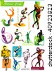COLLECTION_8 Exclusive Series of Sports Icons and Fitness Club symbols with modern ideas. Vector color set for Web. Abstract creative element templates. - stock vector