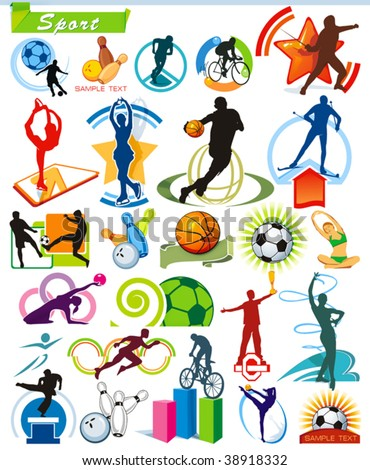COLLECTION_5 Exclusive Series of Sports Icons and symbol pictograms with modern ideas. Vector color set for Web. Abstract creative element corporate templates. Just place your own company name. - stock vector