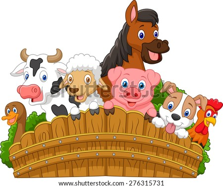 Collection farm animals - stock vector