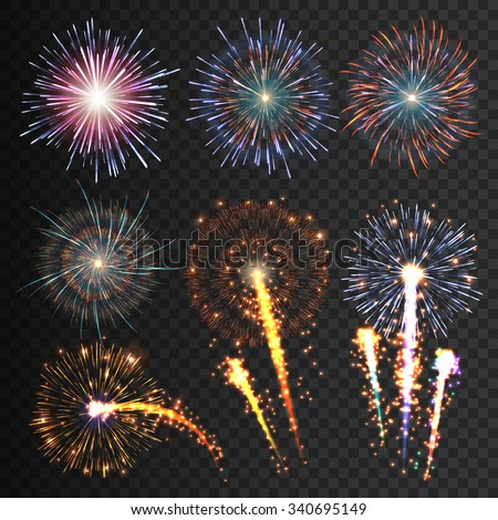 Collection festive fireworks isolated of various colors arranged on a black background. Outbreaks transparent to paste. Set of sparkling abstract shapes. Fireworks night. Vector illustration EPS10 - stock vector