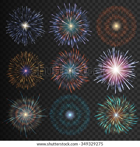 Collection festive fireworks night of various colors arranged on a black background. Fireworks isolated outbreaks transparent to paste. Set of sparkling abstract shapes. Vector illustration EPS10 - stock vector