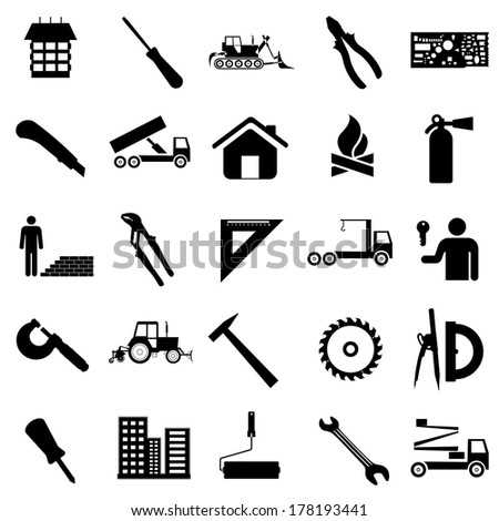 Collection flat icons. Construction symbols. Vector illustration. - stock vector