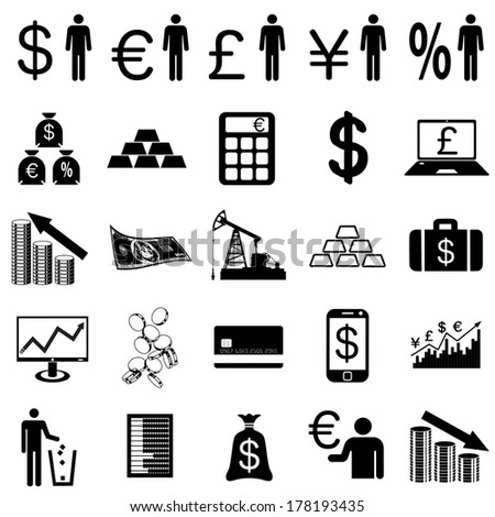 Collection flat icons.  Finance symbols. Vector illustration. - stock vector
