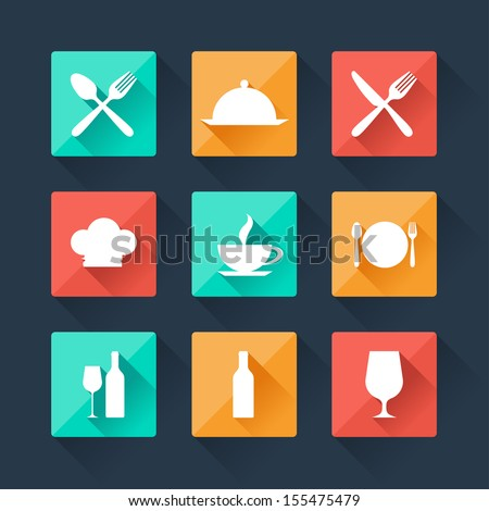 Collection flat icons food and drink for web design. - stock vector