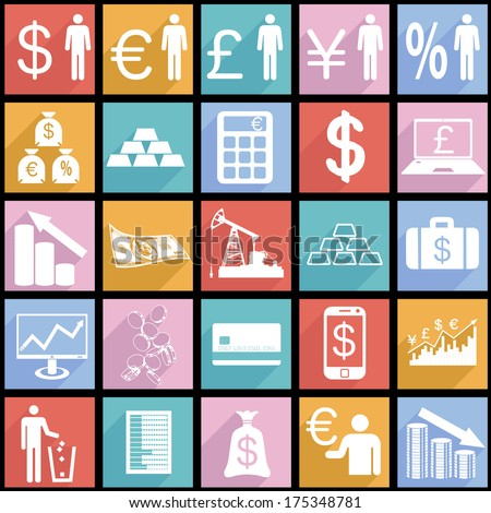 Collection flat icons with long shadow.  Finance symbols. Vector illustration. - stock vector