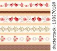 Collection floral borders. Vector illustration. - stock vector