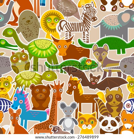 collection Funny cartoon Animals seamless pattern on beige background. Vector - stock vector
