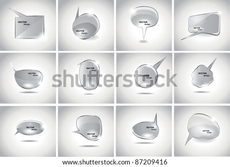 Collection Glass bubbles for speech - stock vector