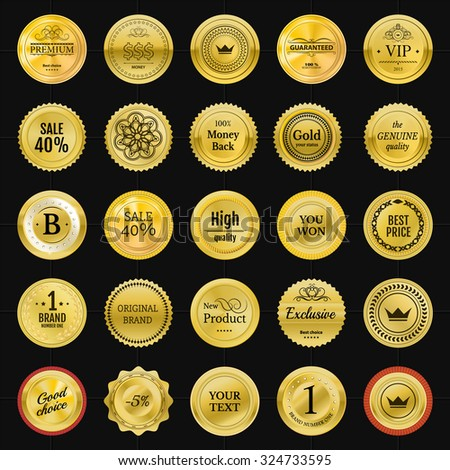 Collection gold labels for promo seals. Can be use for website, online-shop, design certificate. Quality stickers round. Vector retro objects - stock vector