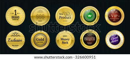 Collection gold labels for promo seals. Can be use for website, shop, design certificate. Quality stickers round. Vector retro objects with glass - stock vector